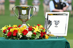 May 5, 2019 - Charlotte, NC, U.S. - CHARLOTTE, NC - MAY 05: 2019 Wells Fargo winners trophy the Wells Fargo Championship on May 05, 2019 at Quail Hollow Club in Charlotte,NC. (Photo by Dannie Walls/Icon Sportswire) (Credit Image: © Dannie Walls/Icon SMI via ZUMA Press)