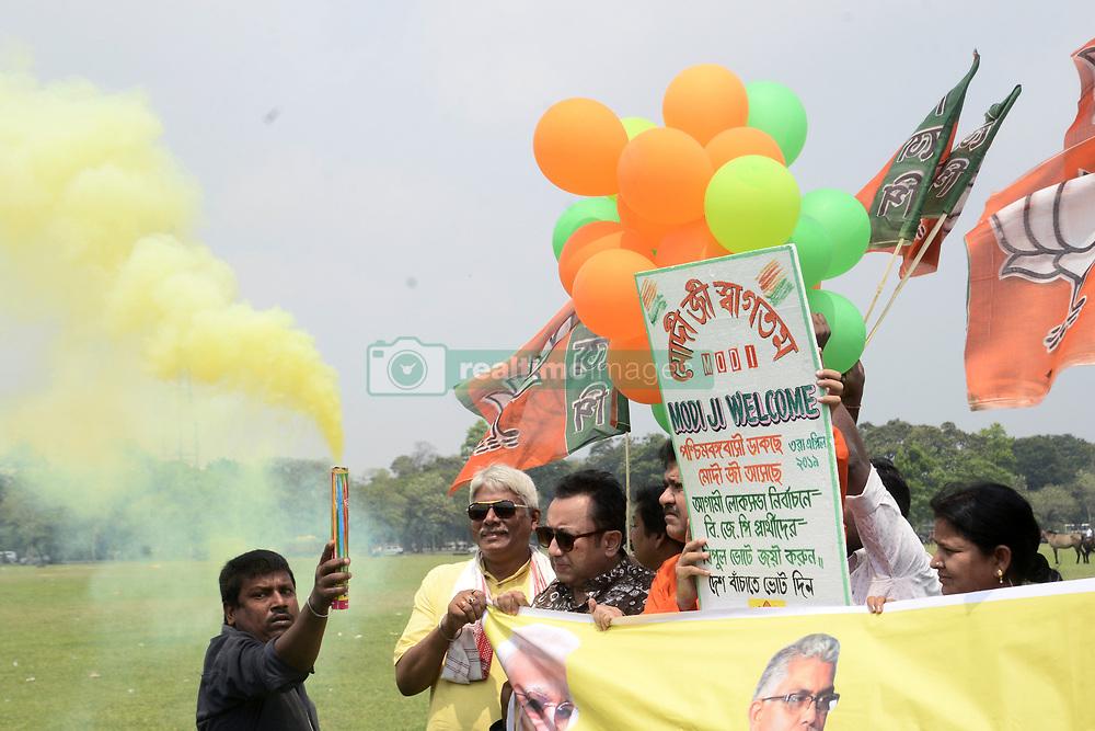March 29, 2019 - Kolkata, West Bengal, India - West Bengal Bharatiya Janta Party or BJP activist campaign for Narednra Modi rally at Brigade Parade ground schedule on April 03 ahead of Lok Sabha election. (Credit Image: © Saikat Paul/Pacific Press via ZUMA Wire)