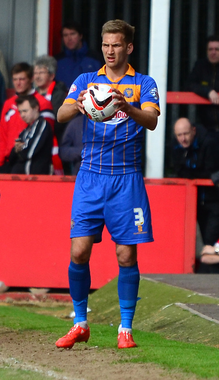 Mickey Demetriou during the Sky Bet League 2 match between Cheltenham Town and Shrewsbury Town at Whaddon Road, Cheltenham, England on 25 April 2015. Photo by Alan Franklin.