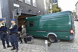 October 26, 2018 - Tongeren, BELGIUM - A police van with suspects arrives for the appearance of eight suspects in the football fraud case at the Antwerp Court, Friday 26 October 2018. Several suspects in a large investigation into tax evasion, money laundering and possible match fixing in Belgian first division soccer competition were arrested in 'Operatie Propere Handen' (Operation Clean Hands)...BELGA PHOTO DIRK WAEM (Credit Image: © Dirk Waem/Belga via ZUMA Press)