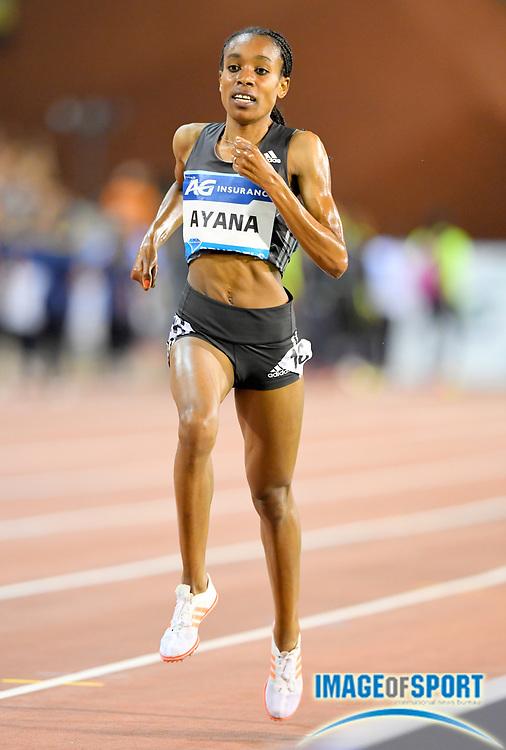 Sep 9, 2016; Brussels, Belgium; Almaz Ayana (ETH) wins the women's 5,000m in 14:18.89 in the 41st Memorial Van Damme at King Baudouin Stadium. Photo by Jiro Mochiuzki
