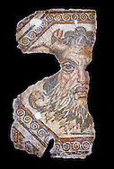2nd century AD Roman mosaic depictiong Neptune. From Augusti (Sidi El Heni), Tunisia.  The Bardo Museum, Tunis, Tunisia. black background .<br /> <br /> If you prefer to buy from our ALAMY PHOTO LIBRARY  Collection visit : https://www.alamy.com/portfolio/paul-williams-funkystock/roman-mosaic.html - Type -   Bardo    - into the LOWER SEARCH WITHIN GALLERY box. Refine search by adding background colour, place, museum etc<br /> <br /> Visit our ROMAN MOSAIC PHOTO COLLECTIONS for more photos to download  as wall art prints https://funkystock.photoshelter.com/gallery-collection/Roman-Mosaics-Art-Pictures-Images/C0000LcfNel7FpLI