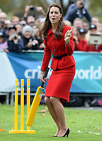 The Duke and Duchess of Cambridge take part in a Cricket World Cup event, as part of their tour of New Zealand and Australia in Christchurch, New Zealand, on the 14th April 2014.