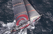 Alinghi powers to windward in the first leg of race one of the America's Cup 2003. 15/2/2003 (© Chris Cameron 2003)