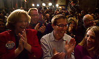 HARTFORD, CT - 02 NOVEMBER 2010 -.Supporters of George Jepsen applaud after Jepsen's victory speech for the race for Attorney General against Linda McMahon at the Society Room in Hartford on Tuesday night. .Photo by Josalee Thrift