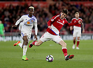 Didier Ndong of Sunderland in action with Marten de Roon of Middlesbrough during the English Premier League match at Riverside Stadium, Middlesbrough. Picture date: April 26th, 2017. Pic credit should read: Jamie Tyerman/Sportimage