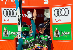 Domen Prevc (SLO) celebrates with his teammates Azne Lanisek and Peter Prevc after placed second during the Ski Flying Hill Individual Competition at Day 4 of FIS Ski Jumping World Cup Final 2019, on March 24, 2019 in Planica, Slovenia. Photo by Vid Ponikvar / Sportida