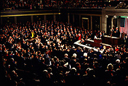 President William Jefferson Clinton delivers the State of the Union Address on Febraury 17 1993<br />Photo by Dennis Brack