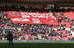 A giant Middlesbrough banner in the stands