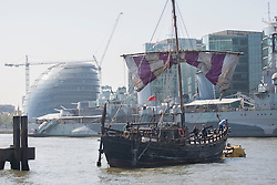 © licensed to London News Pictures. London, UK 30/05/2012. Replica of Phoenicia ship from 600 BC sails into London this morning, 2,500 years after the original expedition to circumnavigate Africa. Photo credit: Tolga Akmen/LNP