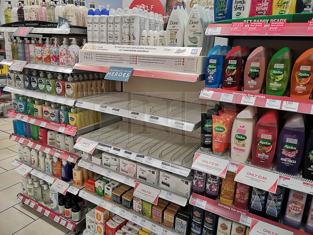 © Licensed to London News Pictures. 27/02/2020. York, UK. Shelves empty of hand sterilising gel at Boots store in York, Yorkshire, as concerns grow over the spread of Coronavirus (COVID-19) across the UK. Photo credit: Colin Scarr/LNP