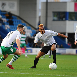 TELFORD COPYRIGHT MIKE SHERIDAN Marcus Dinanga of Telford during the Vanarama Conference North fixture between AFC Telford and Farsley at the New Bucks head Stadium on Saturday, December 7, 2019.<br /> <br /> Picture credit: Mike Sheridan/Ultrapress<br /> <br /> MS201920-033