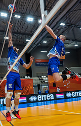 Luke Herr of Lycurgus, Dennis Borst of Lycurgus in action during the cup final between Amysoft Lycurgus vs. Draisma Dynamo on April 18, 2021 in sports hall Alfa College in Groningen