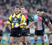 2004/05 Zurich Premiership,NEC Harlequins vs Gloucester, The Stoop,Twickenham, ENGLAND: referee Ashley Rowden, shares a laugh with Quins skipper Andre Vos<br /> <br /> Twickenham. Surrey, UK., 5th February 2005, Zurich Premiership Rugby,  The Stoop,  [Mandatory Credit: Peter Spurrier/Intersport Images],