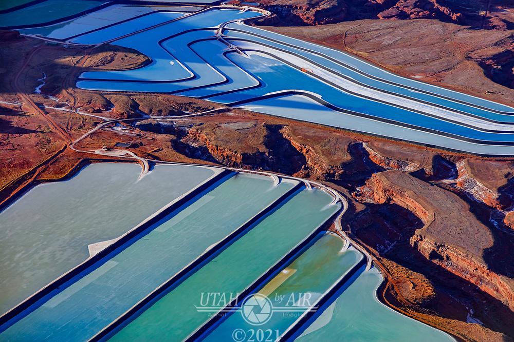 Kane Creek Potash ponds at the Intrepid Potash Mine above the Colorado River near Moab, UT