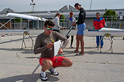 Plovdiv, Bulgaria, 9th May 2019, FISA, Rowing World Cup 1,  Final adjustments for the CUB M2-.  [© Peter SPURRIER]