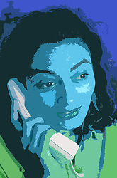Portrait of young woman talking on telephone,