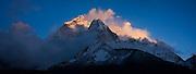 Sunset on Ama Dablam (6848m), as seen from Dingboche, Khumbu (Mount Everest) region, Sagarmatha National Park, Himalaya Mountains, Nepal.