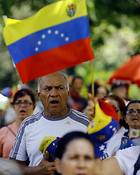 May 4, 2019 - Valencia, Venezuela - Venezuelans shout slogans in favor of freedom during a demonstration as people continue to protest and march against the Maduro government in the main cities of the country. (Credit Image: © Juan Carlos Hernandez/ZUMA Wire)