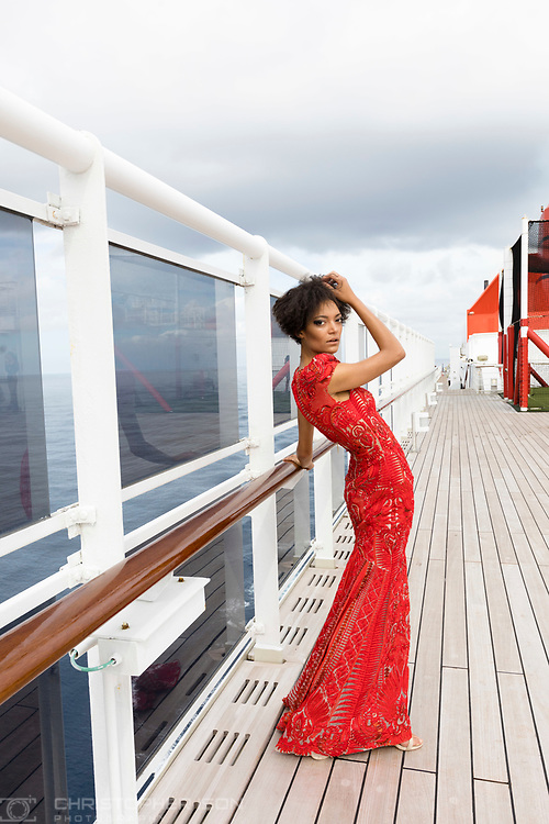 ***IMAGE FOR APPROVAL BY JULIEN MACDONALD***<br /> <br /> Julien Macdonald fashion show on board Cunard's luxury ocean liner Queen Mary 2 during Transatlantic Fashion Week. 2017. <br /> For the second year running, the Transatlantic Fashion Week will bring together some of the most reputable names within the fashion industry to host seven days of runway shows, inspiring talks, glamorous dinners and exclusive unveilings. <br /> <br /> Photograph by Christopher Ison © for Cunard.<br /> 07544044177<br /> chris@christopherison.com<br /> www.christopherison.com