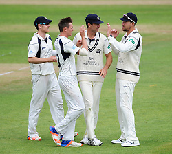Middlesex celebrate the wicket of Peter Trego.  - Mandatory by-line: Alex Davidson/JMP - 10/07/2016 - CRICKET - Cooper Associates County Ground - Taunton, United Kingdom - Somerset v Middlesex - Specsavers County Championship Division One