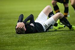 Falkirk's Blair Alston hurt. <br /> Falkirk 5 v 0 Alloa Athletic, Scottish Championship game played at The Falkirk Stadium. © Ross Schofield
