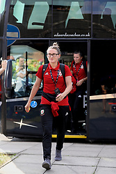 NEWPORT, WALES - Tuesday, June 12, 2018: Wales' Rachel Rowe arrives before the FIFA Women's World Cup 2019 Qualifying Round Group 1 match between Wales and Russia at Newport Stadium. (Pic by David Rawcliffe/Propaganda)