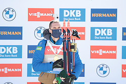 14.02.2021, Center Pokljuka, Pokljuka, SLO, IBU Weltmeisterschaften Biathlon, Sprint, Herren, Siegerehrung, im Bild jacquelin (emilien) (fra), , // during the winner ceremony for the mens Sprint competition of IBU Biathlon World Championships at the Center Pokljuka in Pokljuka, Slovenia on 2021/02/14. EXPA Pictures © 2021, PhotoCredit: EXPA/ Pressesports/ Frederic Mons<br /> <br /> *****ATTENTION - for AUT, SLO, CRO, SRB, BIH, MAZ, POL only*****