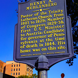 Reading, PA, USA - September 19, 2020: A historical marker sign noting Henry A. Muhlenberg in downtown Reading, Berks County, PA.