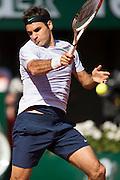 Paris, France. Roland Garros. June 4th 2013.<br /> Swiss player Roger FEDERER against Jo-Wilfried TSONGA