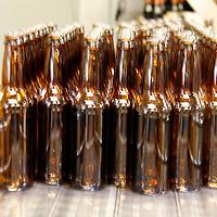 USA, Colorado, Idaho Springs. Beer Bottling process at Tommyknocker Micrbrewery.