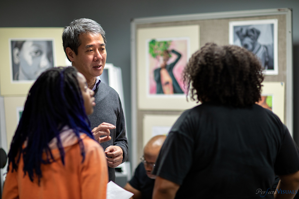 Guilford County Schools hosted it's annual arts fair on January 17, 2019 from 6pm-7:30pm at the Greensboro Cultural Center 200 N. Davie St. Greensboro, NC 27401.<br /> <br /> Parents and students learned about how Guilford County schools integrates the arts with the student population, including The Summer Arts Institute, a program for advanced artistic immersion whereby students may explore visual art, theatre arts, dance, and music. The Arts Integration Academy, which uses methods for integrating various curricula with the arts, was also showcased.<br /> <br /> Photographed, Thursday, January 17, 2019, in Greensboro, N.C. JERRY WOLFORD and SCOTT MUTHERSBAUGH / Perfecta Visuals