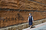 Spanish religious nun wearing nun's habit in Calle Sacramento in Leon, Castilla y Leon, Spain