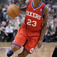 26 May 2012: Philadelphia Sixers point guard Lou Williams (23) looks to pass the ball during the Boston Celtics 85-75 victory over the Philadelphia Sixer, in Game 7 of the Eastern Conference semifinals playoff series, at the TD Banknorth Garden, Boston, Massachusetts, USA.