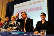 Shadow Education Secretary Ed Balls a rally and protest about the proposed cuts in the building of Schools at Methodist Hall, Westminster, London.