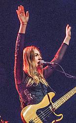 Este Haim performs on stage.<br /> Haim play on stage at Glasgow's O2 ABC on Sauchiehall Street.
