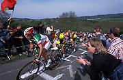 Paolo Bettini powers up La Redoute during the 2004 Liege Bastogne Liege race.