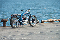 Thompson Cycles's Bryan Thompson's custom 1955 Triumph Pre-Unit at the docks where it was picked up with all of the invited builder's bikes for the Mooneyes show. Yokohama, Japan. Saturday December 2, 2017. Photography ©2017 Michael Lichter.