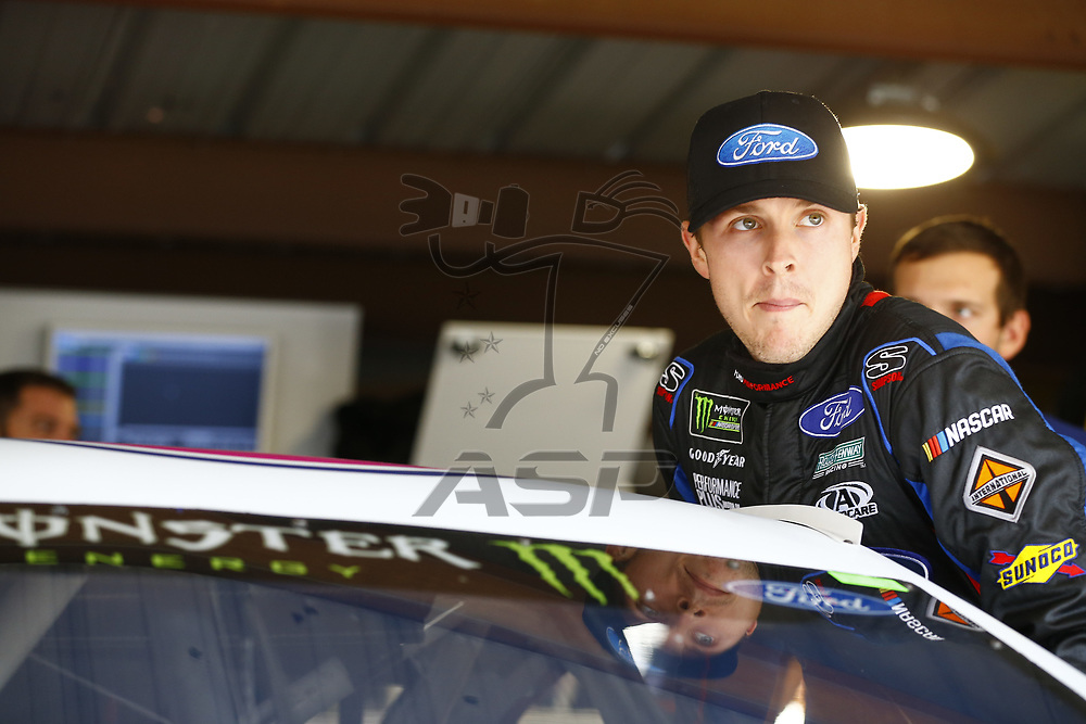 October 28, 2017 - Martinsville, Virginia, USA: Trevor Bayne (6) hangs out in the garage during practice for the First Data 500 at Martinsville Speedway in Martinsville, Virginia.