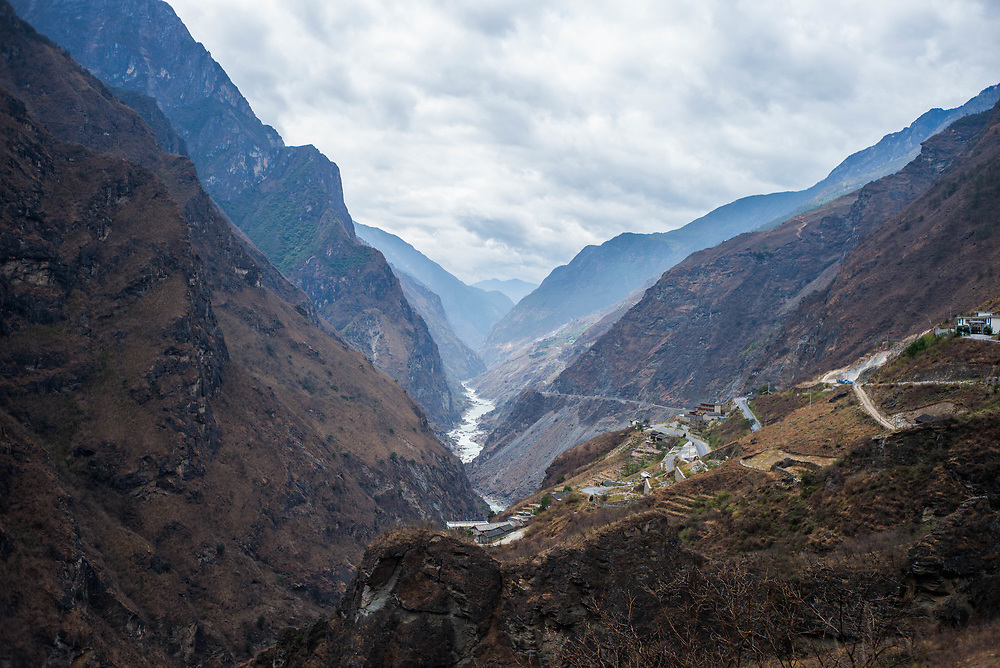 Photograph of Tiger Leaping Gorge in Yunnan Province, China, a two day trek above the river
