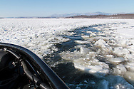 Hudson, New York - The United State Coast Guard Cutter Sturgeon Bay breaks ice in the shipping channel on the Hudson River on March 6, 2015.