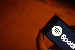 August 2, 2017 - Ankara, Turkey - In this photo illustration, the logo of the music streaming service Spotify is displayed on a smart phone in Ankara, Turkey on August 02, 2017. Spotify recently announced that it now has over 60 million paying users (140 million users in total) as compared to its biggest competition, that's double Apple Music's 27 million subscribers. (Credit Image: © Altan Gocher/NurPhoto via ZUMA Press)