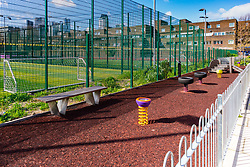 A new play area provided for the children of Social housing residents, who are up in arms after having their children forbidden from playing in a garden overlooked by their homes, as it is said to be only available to the children of those who have bought properties at the new Baylis Old School housing development in Lambeth, South London . London, March 26 2019.