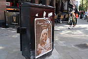 Posters advertising the new album Happier Than Ever by Billie Eilish on 10th August 2021 in London, United Kingdom. Billie Eilish Pirate Baird OConnell is an American singer and songwriter who has received several accolades, including seven Grammy Awards. She is the youngest artist in Grammy history and second overall to win all four general field categories proving her to be a phenomenon in the music industry.