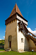 Defensive tower of the  fortified Saxon churchof Biertan , the see of the Lutheran Evangelical Bishop in Transylvania between 1572 and 1867. Unesco World Heritage Site .<br /> <br /> Visit our ROMANIA HISTORIC PLACXES PHOTO COLLECTIONS for more photos to download or buy as wall art prints https://funkystock.photoshelter.com/gallery-collection/Pictures-Images-of-Romania-Photos-of-Romanian-Historic-Landmark-Sites/C00001TITiQwAdS8<br /> .<br /> Visit our MEDIEVAL PHOTO COLLECTIONS for more   photos  to download or buy as prints https://funkystock.photoshelter.com/gallery-collection/Medieval-Middle-Ages-Historic-Places-Arcaeological-Sites-Pictures-Images-of/C0000B5ZA54_WD0s