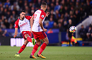Nacer Chadli of West Bromwich Albion (l) scores his teams 1st goal to make it 0-1 .Premier league match, Leicester City v West Bromwich Albion at the King Power Stadium in Leicester, Leicestershire on Monday 16th October 2017.<br /> pic by Bradley Collyer, Andrew Orchard sports photography.