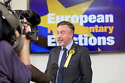 Alyn Smith, winning SNP candidate, speaks to the media after the results declaration. pic copyright Terry Murden @edinburghelitemedia