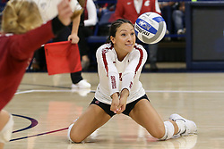 October 7, 2018 - Tucson, AZ, U.S. - TUCSON, AZ - OCTOBER 07: Washington State Cougars libero / defensive specialist Alexis Dirige (4) hits the ball during a college volleyball game between the Arizona Wildcats and the Washington State Cougars on October 07, 2018, at McKale Center in Tucson, AZ. Washington State defeated Arizona 3-2. (Photo by Jacob Snow/Icon Sportswire) (Credit Image: © Jacob Snow/Icon SMI via ZUMA Press)