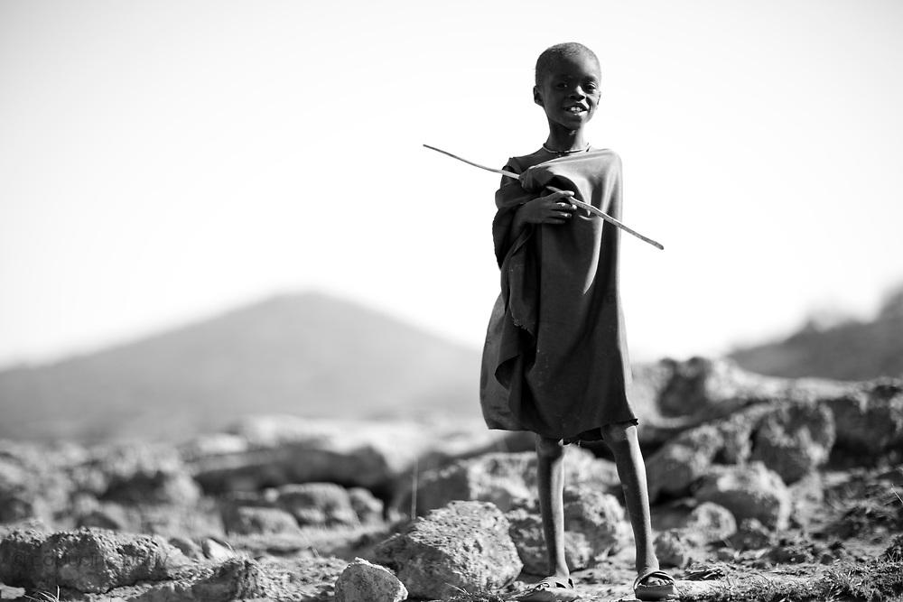 TANZANIA. Gols Mountains. August 10th 2009..A Maasai Kid