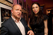 TOBY YOUNG; TALITHA STEVENSON;  First night party for Dandy In The Underworld which opened at the  Soho Theatre, 21 Dean Street. House Of St Barnabas, 1 Greek Street, 15 June 2010. -DO NOT ARCHIVE-© Copyright Photograph by Dafydd Jones. 248 Clapham Rd. London SW9 0PZ. Tel 0207 820 0771. www.dafjones.com.